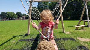 Rope swing at the splash park