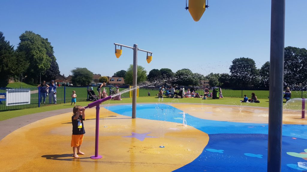 water gun at the splash park in Dunstable